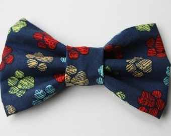Colorful Paw Print Dog Bow Tie