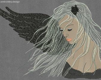 Fallen angel embroidery design