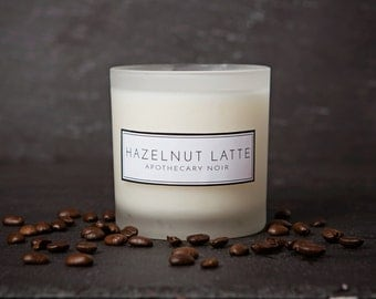 Hazelnut Latte Scented Soy Candle in Frosted Glass with Gift Box