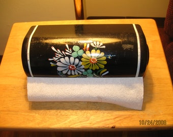 Vintage Ransburg Black Metal Wall Mounted Paper Towel Holder Hand Painted Flowers