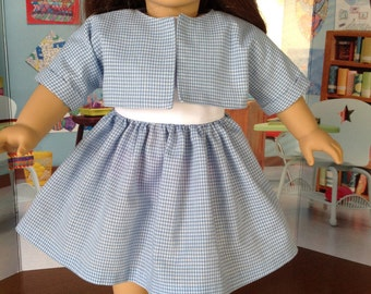 1950's gingham dress and jacket, blue gingham dress with white bodice, historical dress and jacket,