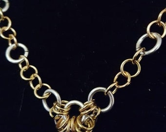 Dual color necklace Chain Maille