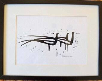 PEACOCKS linocut linoleum print black white 29 cm X 20 cm