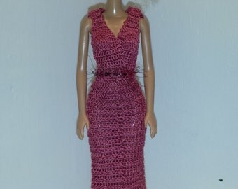Crochet Barbie Clothes, Barbie Doll Outfit, Handmade Barbie Dress, Crochet Barbie Fashion Cotton Dress