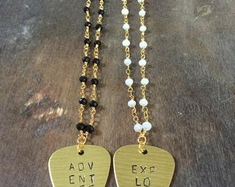 Custom Guitar Pick Beaded Necklace