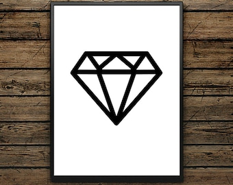 "Poster Shape ""diamond"" - Scandinavian Style - Wall decoration - typographic design - Black and White Illustration - Premium Quality Gift"