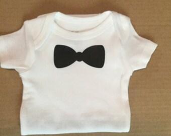 Newborn bow tie onesie, baby boy, shower gift