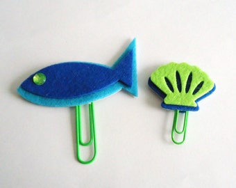 Sea themed paper clips or bookmarks for planners, calendars or agendas