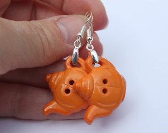 Orange teapot earrings. Afternoon tea. Cup of tea earrings.