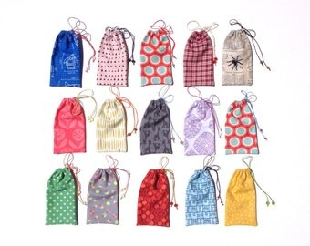 Small Gift Bags, Gift Card Holders, Handmade Gift Card Pouches, Drawstring Pouches, Fabric Baggies