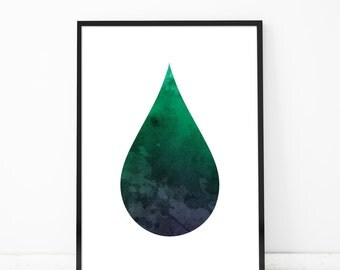 Water Drop Green Watercolor Abstract Art Print Minimalistic Poster Contemporary Art Prints Wall Decor Art Print Modern House Art Minimal Art