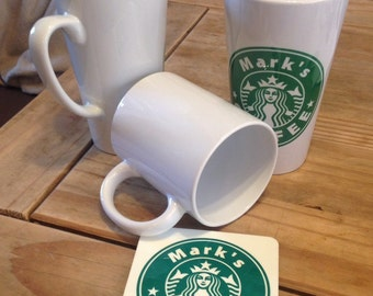 11oz or 17oz Personalised Starbucks Coffee Mug printed with Any Name, starbucks, starbucks coffee mug,starbucks