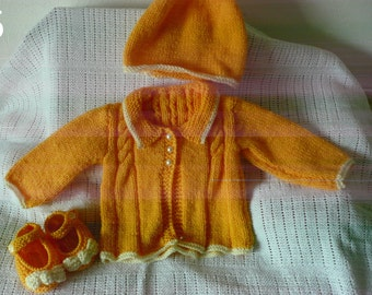 Baby girl hand knitted Vintage Style Coat, hat and shoes