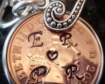 7th Copper Wedding Anniversary Gift 2010 Penny personalised with initials love token for girlfriend boyfriend lover  silver plated  cinch