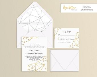 Geometric Foil Wedding Suite - Set of 25 or Digital without Foil