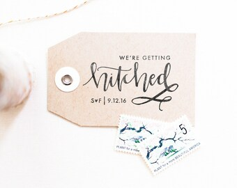 Getting Hitched Stamp - Save the Date Stamp, Personalized Save the Date Stamp, Engagement Stamp, Wedding Date Stamp, Married (Style 27)
