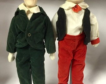 Laurel and Hardy Ceramic Dolls on Stands / Rare Find