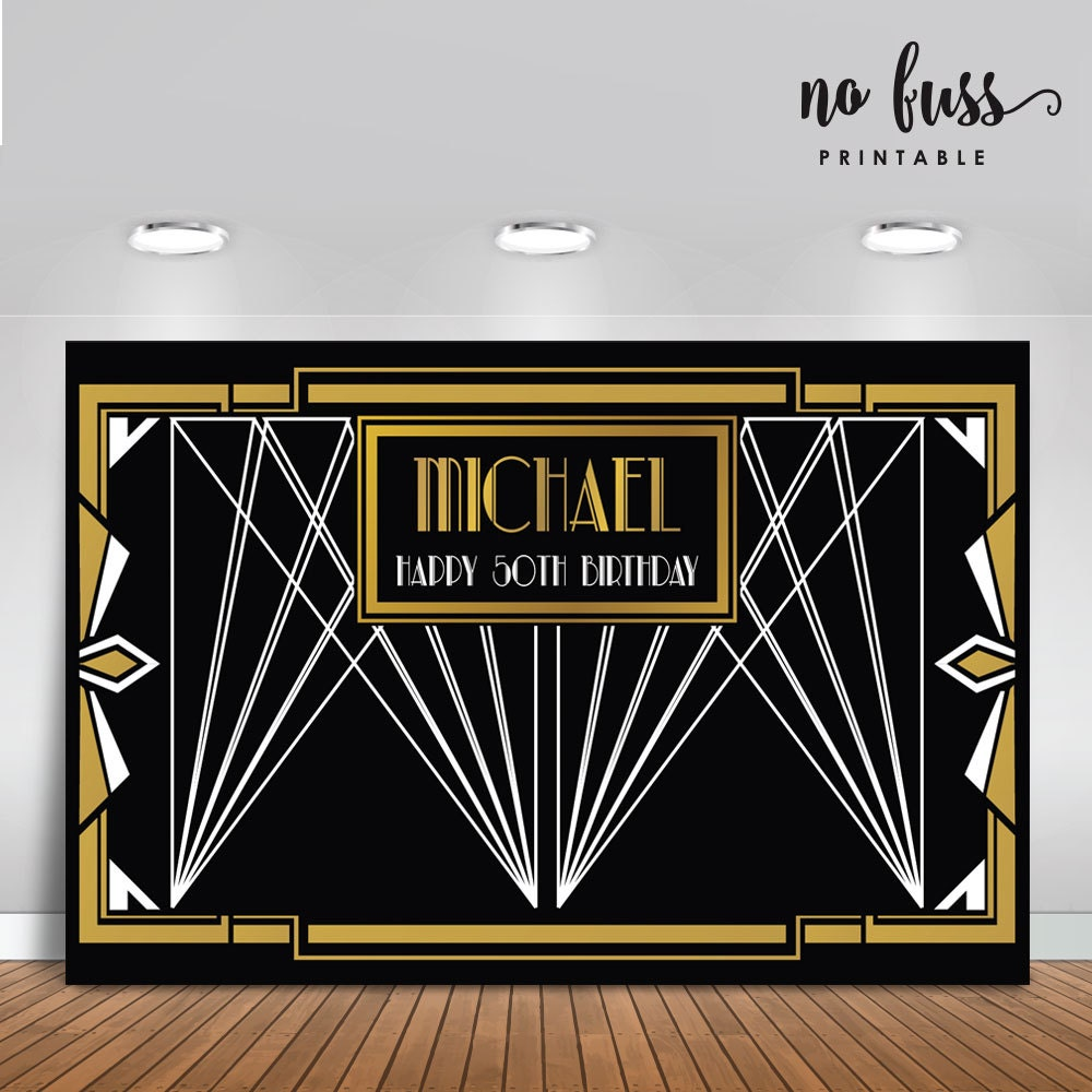 Great Gatsby Backdrop Adults Party Banner By NoFussPrintable
