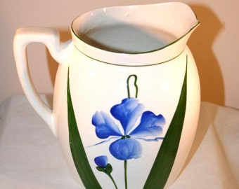 Vintage Steubenville China Pitcher with Blue Pansy Design and Green Rim//Rare Vintage Pitcher