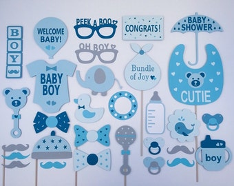 Boy Baby Shower Photo Booth Props / Baby Shower Boy Photo Props / Baby Shower Package Set / Fully Assembled - 30 pc