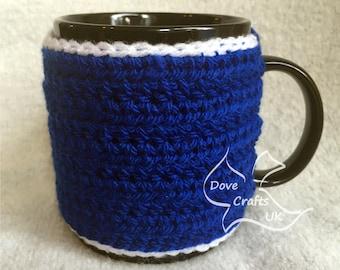 Blue with White Trim Handmade Crochet Mug Cosy / Cozy