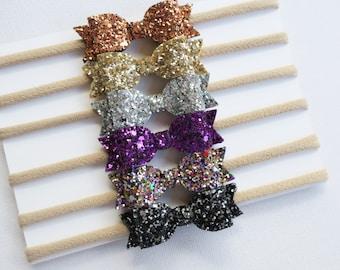 Glitter Bow || Baby Headband || Glitter Baby Headband || Mini Bow || Glitter Bow Headband || Newborn Headbands