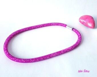 FishNet Fushia necklace / collar FishNet tube / collar fushia