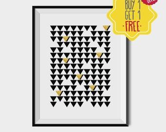 Gold foil geometric print, Printable gold scandinavian poster, Gold foil triangle art, Geometric gold art, Minimal nordic gold,Home gold art