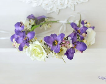 Bridal flower crown Wedding flower crown Purple floral headband Roses hair wreath Anemone Woodland crown Boho wedding halo Large crown