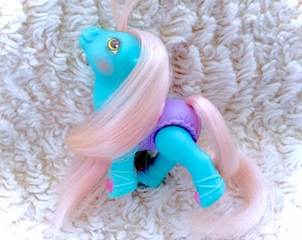 G1 Vintage Baby Tippytoes Ballerina 1990 Moveable Poseable Original My Little Pony MLP 80s VTG 1980s Hasbro Blue Tippy Toes Pink Hair Kawaii