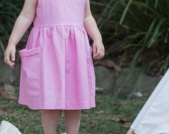 Pink Toddler Dress, Birthday Outfit, Dress with Pockets, Girls Dress, Girl Dress Pockets, Party Dress, Linen Dress, Linen Dress Wedding
