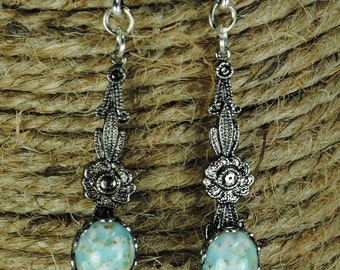 Vintage Floral Filigree Drop Earrings With Turquoise Lucite