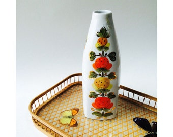 Hand Painted Vase//Gold Details//Mid-century Decor//Flower Vase//White Bottle//Vintage
