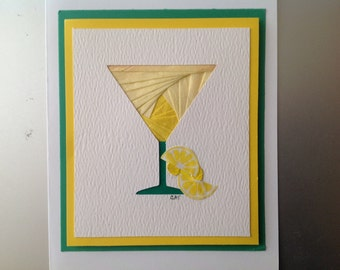 Iris Folded Lemontini, Hand Made Greeting Card, made with specialty paper