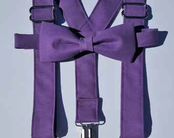On Sale Wisteria Color Match Suspender and Bow Tie Set Perfect for Weddings, Proms, Special Events Free Shipping Offer