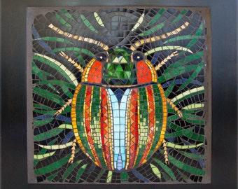 Motley Beetle mosaic coffee table, handmade accent table, glass mosaic