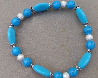 Blue and Silver Bead Bracelet