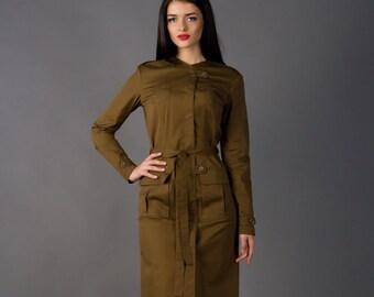 Long Sleeve Dark Green Knee-Length Dress by TAVROVSKA, Midi Military Style Dress