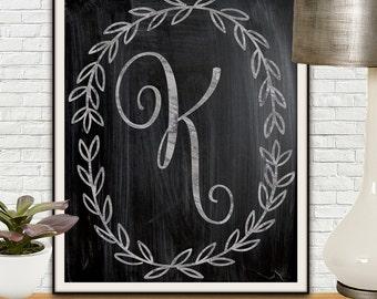 Custom Monogram Print, Monogram Print, Chalk Board Art, Custom Chalkboard, New Home Gift, Housewarming Gift, New Homeowner, New Home Sign