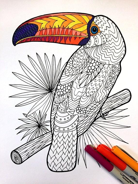 Toucan PDF Zentangle Coloring Page