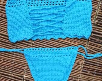 Crochet bikini bandeau set - EUCALYPTUS