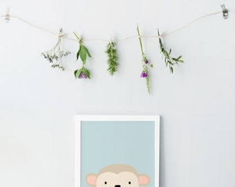Monkey print - Children nursery wall art - Cute monkey print - Pastel nursery decor - Blue nursery wall art - Printable children gift