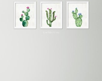 Set of 3 watercolor cactus print - Cactus art print - Gallery wall cactus print set - Digital cactus artwork - Printable cactus wall art