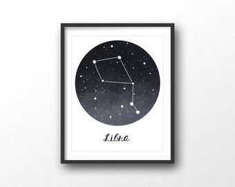 Libra print - Astrology sign - Libra print - Horoscope print - Mystical zodiac print - Zodiac constellation print - Printable