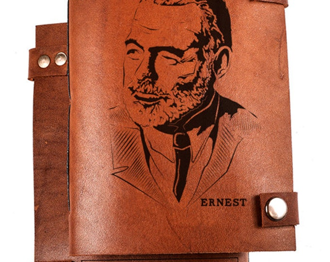 Ernest Hemingway notebook - journal for writer - Hemingway journal - sketchbook - leather notepad - gift for writer