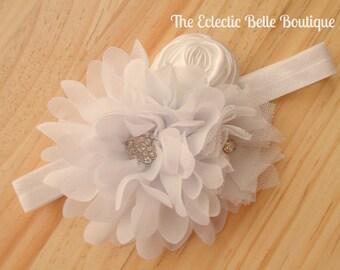 Wedding Headband, Baby Headband, Toddler Headband, Little Girls Headband, White Headband, Newborn Gift, Newborn Photography Prop, Wedding