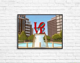 Love Park / Philadelphia Illustration / Philly Art Print