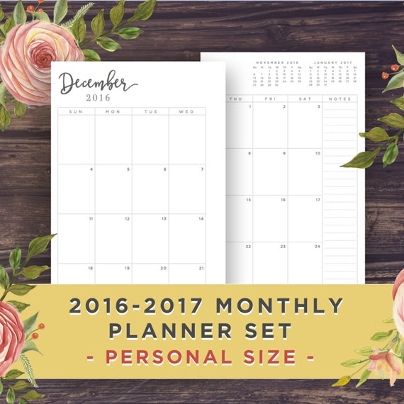 Diy Calendar Size : Personal size monthly calendar printable by