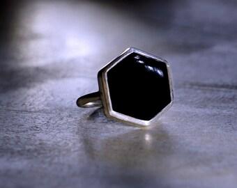 Hexagon Black Onyx Silver Ring