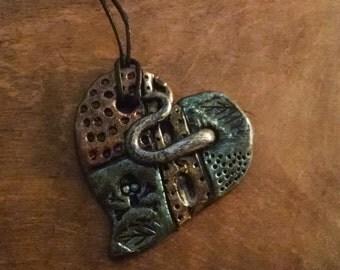 Steam punk heart pendant * gothic * heart * necklace * polymer clay * weird * metallic  * love heart